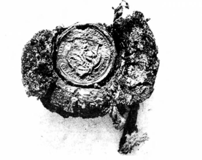Відбиток воскової печатки з гербом «Погоня» з сокілської церкви