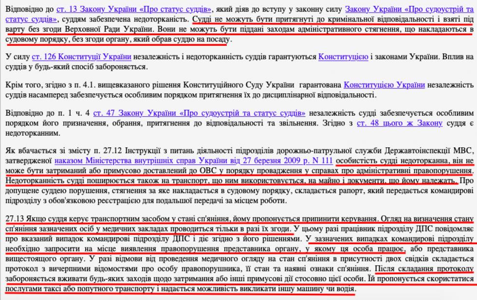 Фрагмент постанови відносно Руслана Хитрика, винесеної суддею Олександром Костюкевичем