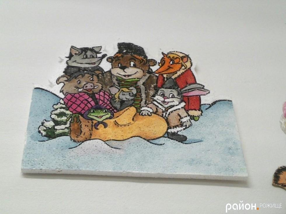 Картини на пінопласті 8-класниці Вікторії Вальчук.