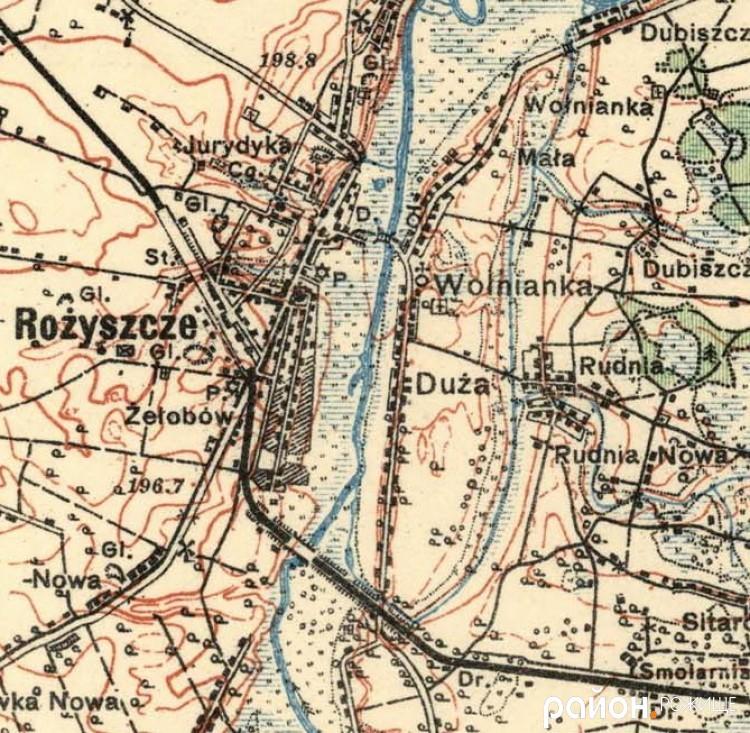 Польська карта Рожища та околиць