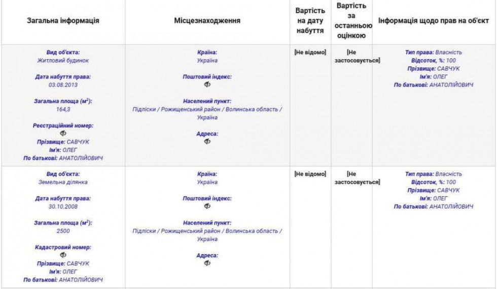 Витяг із декларації Олега Савчука