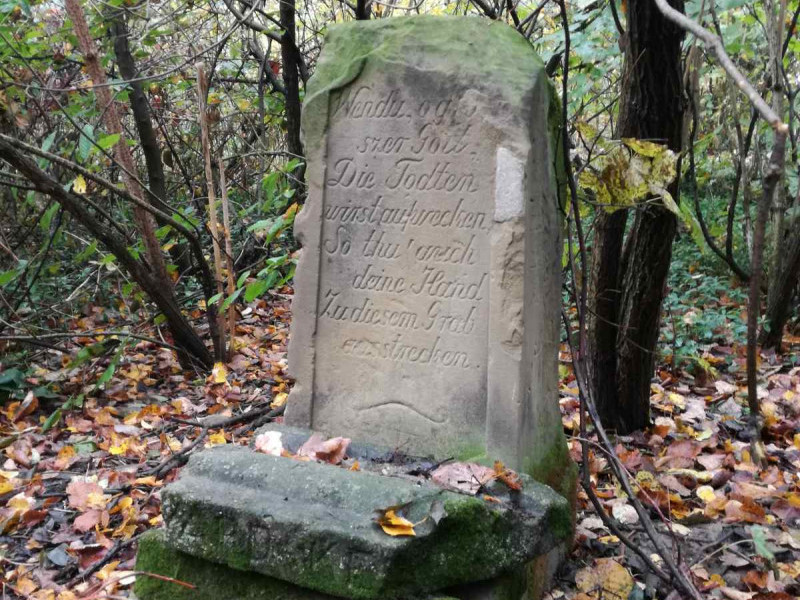 Вцілілий надгробок на запустілому кладовищі у селі Підгірне Рожищенського району